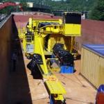 Transport par barge d'engins de chantier