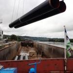 Transport fluvial pièces de pipeline